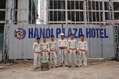 Finished positioning  bore pile, barrete pile, Hanoi Plaza project.